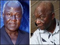 Rival candidates Ernest Koroma (L) and Solomon Berewa