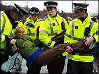 Carolyn Leckie being arrested at Faslane