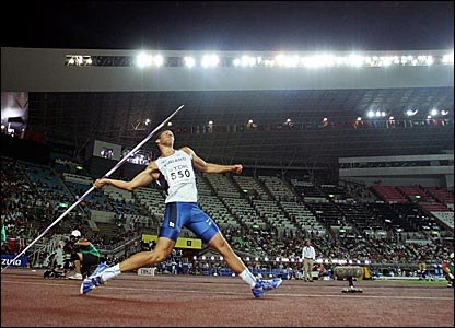 Finland's Tero Pitkamaki throws in the sixth round of the javelin