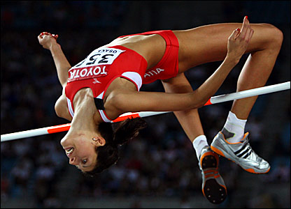 Croatia's Blanka Vlasic clears 2.05m to win the high jump