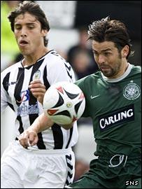 Marco Miranda challenges Celtic midfielder Paul Hartley