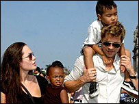 Angelina Jolie and Brad Pitt with their family