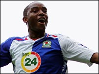 Benni McCarthy celebrates scoring for Blackburn