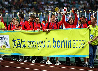 German athletes with a banner promoting the next Championships in two years