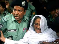 Sheikh Hasina under arrest in July 2007