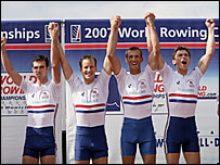 Richard Chambers, James Lindsay-Flynn, Paul Mattick and James Clarke celebrate winning the men's lightweight four at the 2007 World Championships