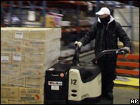 A worker at a cold storage warehouse in Vernon, California