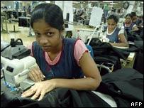 A factory worker in Avissawella in Sri Lanka