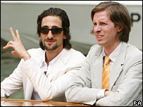 Adrien Brody and Wes Anderson (r)