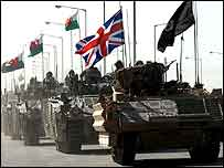 Convoy of British military vehicles leaving Basra city