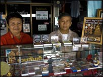 Stall in Nakhon selling amulets