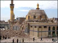 The minarets of the al-Askari shrine were damaged in a sectarian bombing in June.