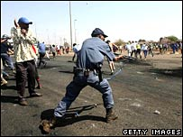 South African police attempt to disperse demonstrators in Soweto on Monday 3 September 2007