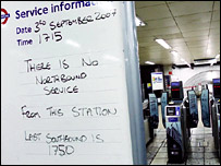 Sign at Vauxhall Station informing passengers about the Tube strike