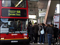 Queues at Vauxhall bus station