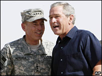 General David Petraeus greets President George W Bush in Iraq