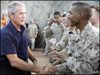 President Bush greets troops at al-Asad air base