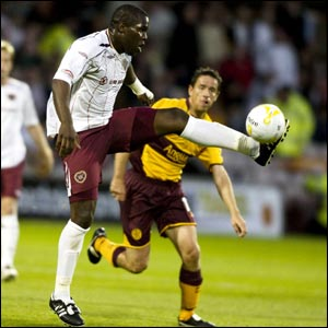 Christian Nade makes his debut for Hearts