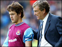 Joe Cole and Sir Trevor Brooking at West Ham