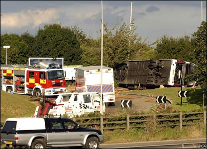 Scene of coach crash at M1 services