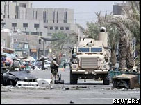 The site of a bomb attack in Baghdad