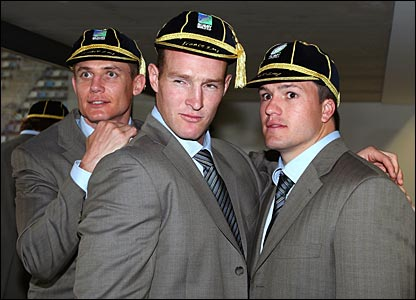 Stephen Larkham, Stirling Mortlock and Adam Ashley-Cooper pose after being presented with their Australia World Cup caps in Montpellier