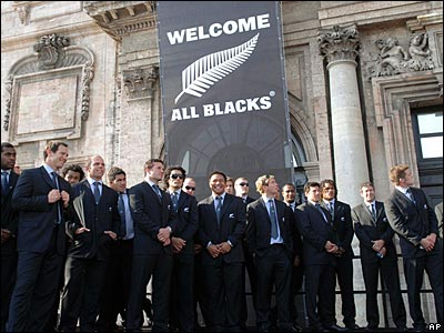 New Zealand pose for a team photo in front of the town hall in Marseille