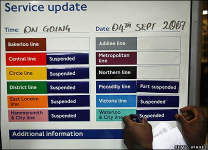 London Underground information sign. Metronet workers maintain large parts