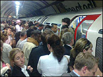Tube commuters amid strike
