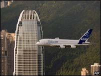 Airbus A380 flying over Hong Kong's Victoria Harbour