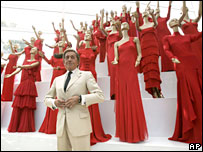 Italian fashion designer Valentino poses at an exhibition of his best creations in Rome in July 2007