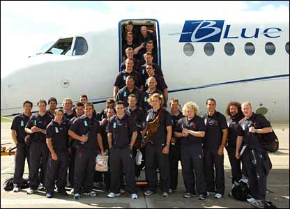 The Wales team leave Cardiff for Brittany on the first leg of their World Cup journey