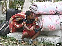 A boy at a temporary shelter in the city port of La Ceiba, Honduras