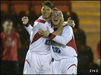 Allan Russell (left) celebrates his second goal for Airdrie Utd with Stephen McKeown