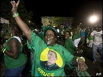 JLP supporters celebrate their party's narrow victory