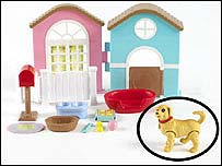Dream Puppy House, with affected puppy circled. Copyright: Mattel