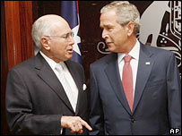 Australian PM John Howard with George Bush in Sydney 5-9-07
