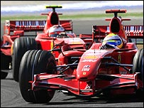 Felipe Massa leads Ferrari team-mate Kimi Raikkonen during the Turkish Grand Prix