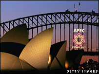 The Apec sign lights up the Sydney harbour bridge