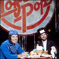 Tony Blackburn and Noel Edmonds in 1976