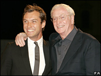 Jude Law and Sir Michael Caine at the Venice Film Festival, August 2007