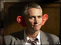 Gary Lineker sporting comedy ears