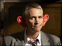 Gary Lineker sporting comedy ears
