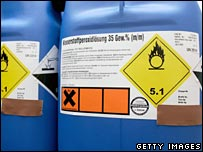 Containers for storing chemicals used by suspected terrorists, seen prior to a news conference at the attorney general's office in Karlsruhe, Germany, on 5 September 2007