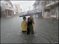 Flooded street in the Honduran port city of La Ceiba on 4 September