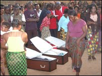 Coffins of fans who died outside the Konkola Stadium