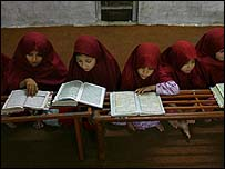Women study in a radical mosque in Pakistan