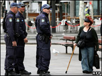Police on patrol in Sydney on 6 September 2007