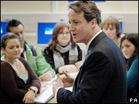 David Cameron and politics students at Chalvedon School in Essex