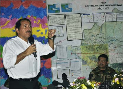 Nicaragua's President, Daniel Ortega during a news conference on 4 September 2007